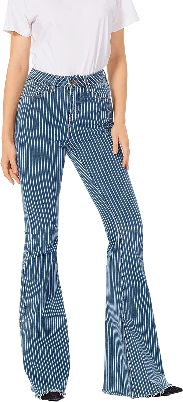 Kephnee Women's Tall High-Rise Stretch Stripe Super Flare Jean Bell Bottom Jean Frayed Hem Junior/Plus Size