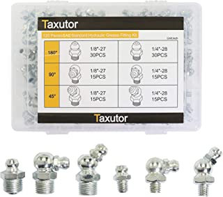 Taxutor Metric Hydraulic Grease Fittings SAE Standard 120-Piece Kit – Straight, 90 Degree, 45 Degree Angled Grease Zerks Fitting Assortment Set