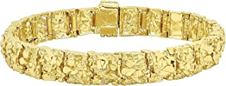 Thick 11mm 14k Yellow Gold Plated Chunky Nugget Textured Link Bracelet + Microfiber Jewelry Polishing Cloth