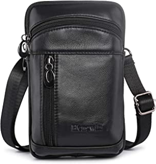 Hengwin Leather Crossbody Shoulder Bags Men Belt Clip Phone Holsters Case Belt Loop Pouch Waist Bag Pack for iPhone Xs Max XS 8 7 Plus Galaxy Note 9 8 5 S9/S8 Plus (Black)