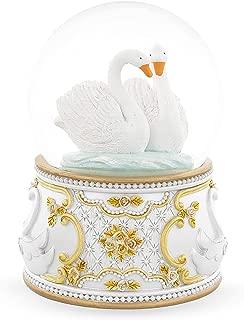 BestPysanky Two White Swans in Love Snow Globe