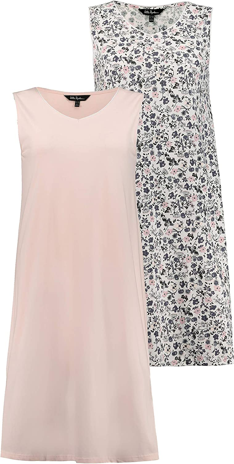 Ulla Popken Womens Plus Size 2 Pack of Eco Cotton Sleep Tanks Solid Pastel Floral 749241
