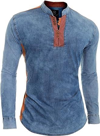 D&R Fashion Camisa Vaquera Azul para Hombre V-Cuello Cuello Alto Parche de Codo Slim Fit