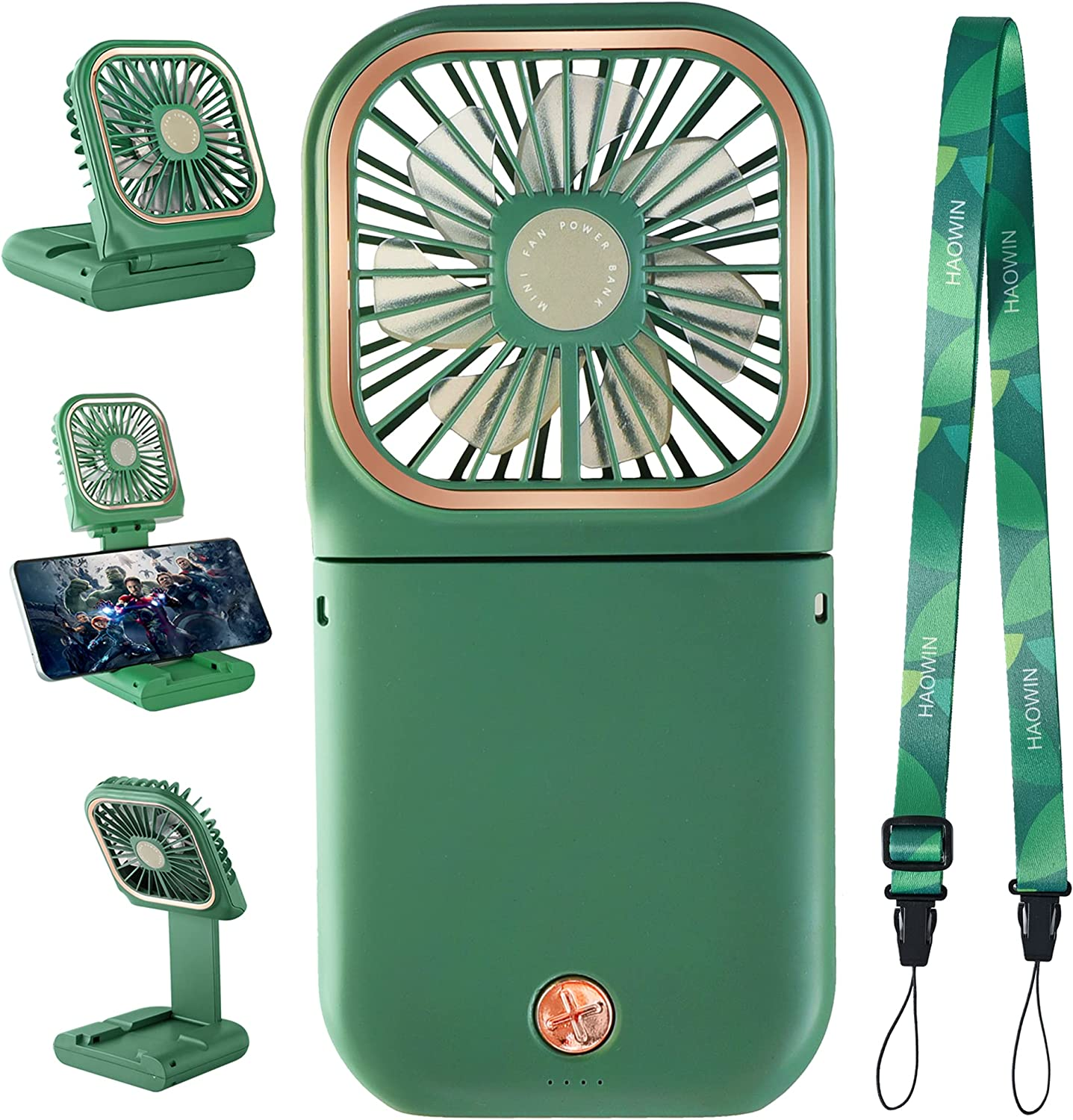 HAOWIN Portable Fan With 3000mAh Power Bank, 3-Speed Powerful Wind Mini Fan, Personal Fan For Table Stand, Hand Held, Neck Hanging,Waist Fastening, Cellphone Mount,Food Cooler,Work Up To 10 Hrs, Green