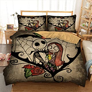 Duvet Cover Set Nightmare Before Christmas 3D Printed Skull Bedding Quilt Cover with Zipper Closure and 2 Pillowcases for Kids Teens Adults Queen Size (90