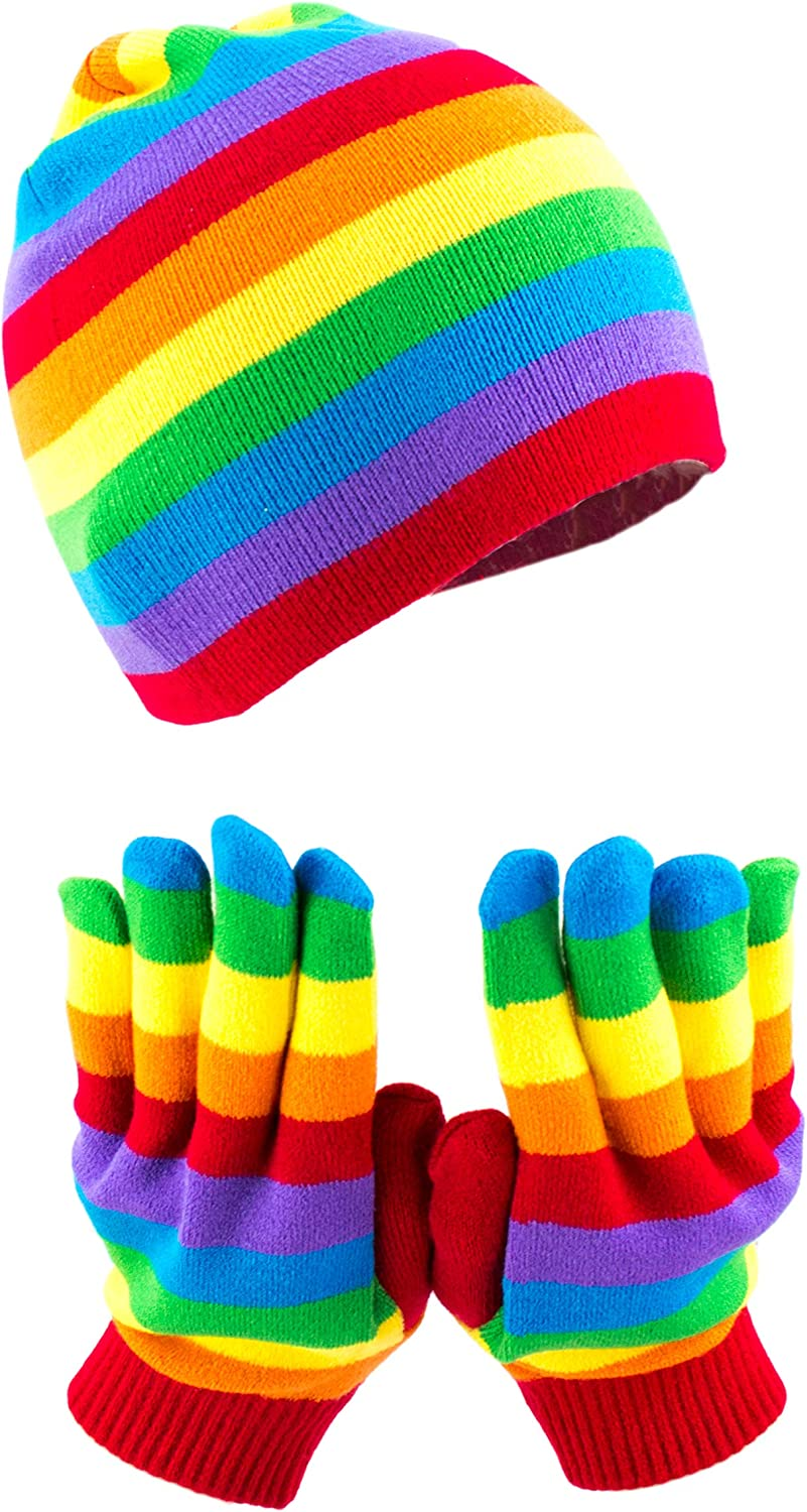 Classic Rainbow Glove & Ski Beanie Gift Set, Colorful Stripe Fitted Winter Knit Cap