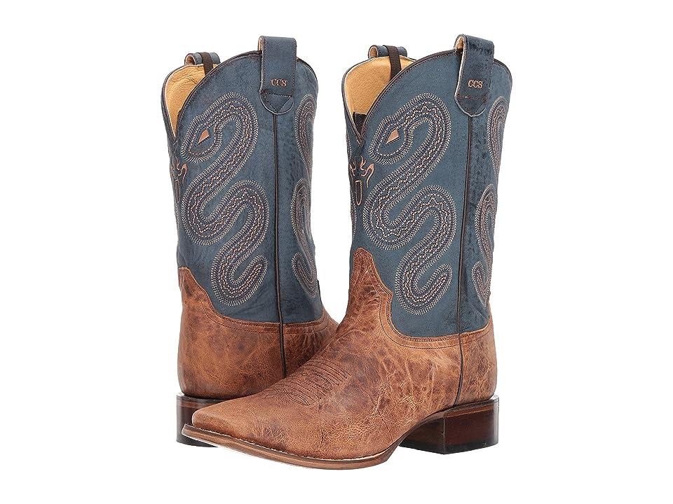 Roper Pierce (Tan Leather Vamp/Blue) Cowboy Boots
