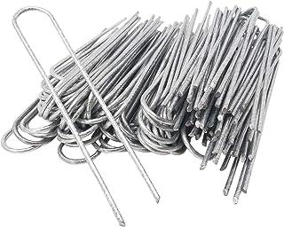ToCi 100 stycken 200 x 25 mm – förzinkad, ståltråd, Ø 3,8 mm – markankare för fastsättning av ogräsdis, folier, slangar i ...