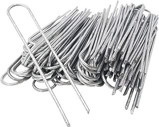ToCi - Anclajes para Suelo (100 Unidades, 200 x 25 mm, galvanizados, Alambre de Acero, diámetro de 3,8 mm, para fijación de Fieltro para Malas Hierbas, láminas, mangueras en Suelos Duros)