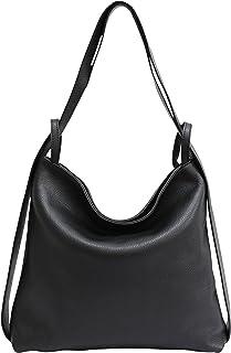 AmbraModa Italienische Ledertasche, Damen handtasche rucksack 2 in 1 Damenrucksack Daypack Schultertasche Damen Handtasche...