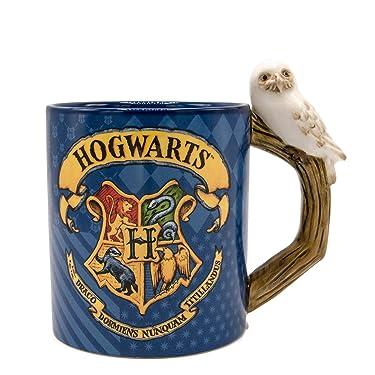 Silver Buffalo Harry Potter Hogwarts House Patterns Shaped Handle Ceramic Mug, 20 Oz, Blue