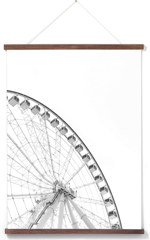 16 in | 41 cm White Solid Oak Wood Magnetic Poster Frame Picture Hanger