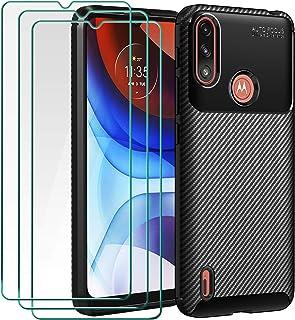 ivoler Fodral med pansarglas för Motorola Moto E7 Power [1 mobilskal 3 skyddsfolie], svart snygg koldesign anti-repor stöt...