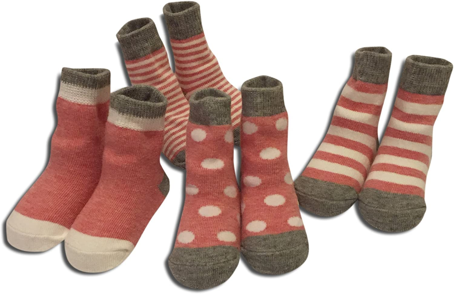 Wits + Beaux Premium 4 pack Baby Girl Red Socks ages 6-24 months Pink Gray White