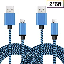 RoseKing Android Charging Fast Charge Micro USB Charger Cord 6FT 2Pack Cable for Samsung Galaxy S6 S7 J3 J7 Edge Note 5 Moto Droid Turbo LG G4 V10 Stylo 2 3 HTC One Kindle Fire, Blue