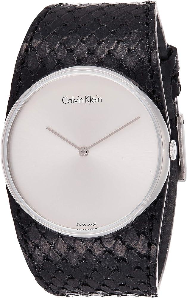 Calvin klein,orologio analogico al quarzo per donna, con cinturino in pelle e cassa in acciaio inossidabile K5V231C6