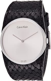 Calvin Klein Womens Quartz Watch, Analog Display and Leather Strap