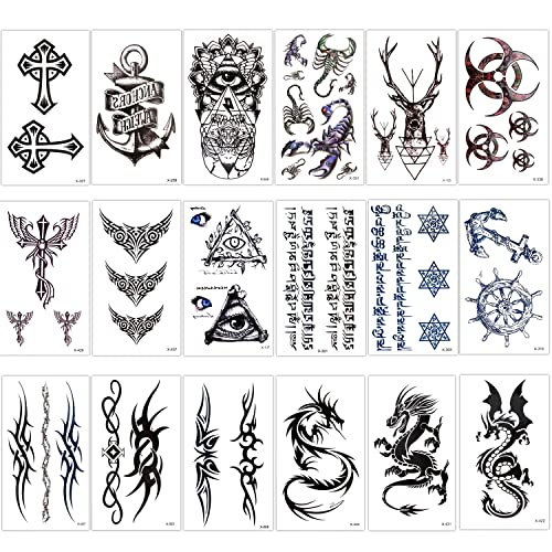 baf00cb0d Konsait Temporary Tattoo Kit for Adults Kids Women Men(18 Sheets),  Temporary Tattoo