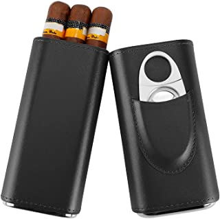 Real Leather Cigar Case, Cedar Wood Interior Cigar Humidor with Silver Stainless Steel Cutter by Fortune Nexus