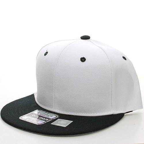 L.O.G.A Plain Flat Bill Visor Blank Snapback Hat Cap with Adjustable Snaps  - White-Black 52c0df3eb9b
