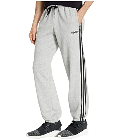 adidas Essentials 3-Stripes Fleece Open Hem Pants (Medium Grey Heather/Black) Men
