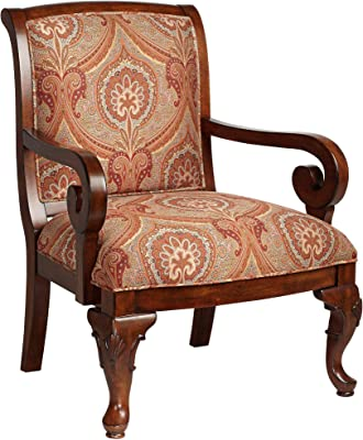 Diana Wood and Red Upholstered Accent Chair - Kensington Hill
