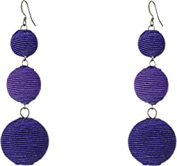 Triple Graduated Navy Blue Thread Wrapped Balls Fishook Top Earrings