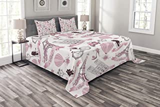 Ambesonne Eiffel Tower Bedspread, Travel in Paris Theme Honeymoon Flowers Romance Hot Air Balloon Bike, Decorative Quilted 3 Piece Coverlet Set with 2 Pillow Shams, Queen Size, Pale Pink