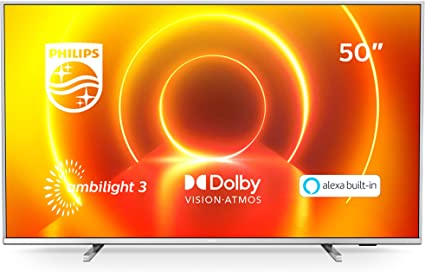 Philips 50PUS7855/12 Ambilight Televisor 4K UHD de 50 Pulgadas (P5 Picture Engine, Asistente Alexa integrada, Smart TV, Función de Control por Voz), Color Plata Claro (Modelo de 2020/2021)