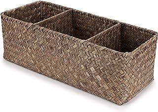 SUMTREE Panier de rangement en rotin à 3 grilles, boîte de rangement pour articles de toilette et mouchoirs, boîte de rang...