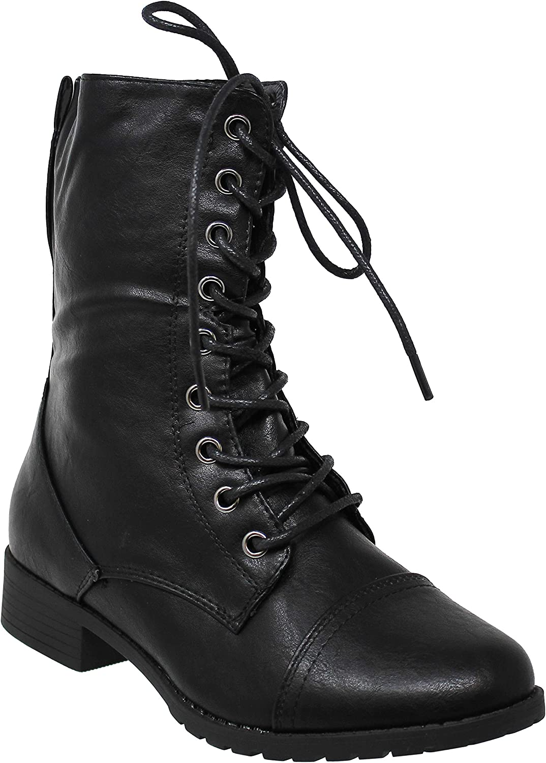 MVE Shoes Women's Forever Round Toe Military Lace up Knit Ankle Cuff Low Heel Combat Boots