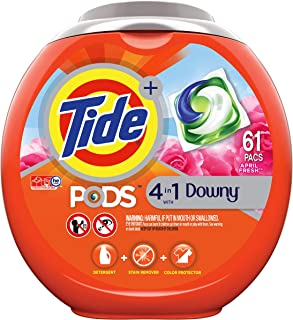 Tide PODS 4 in 1, Plus Downy, Laundry Detergent Liquid Pacs, April Fresh, 61 Count - Packaging May Vary
