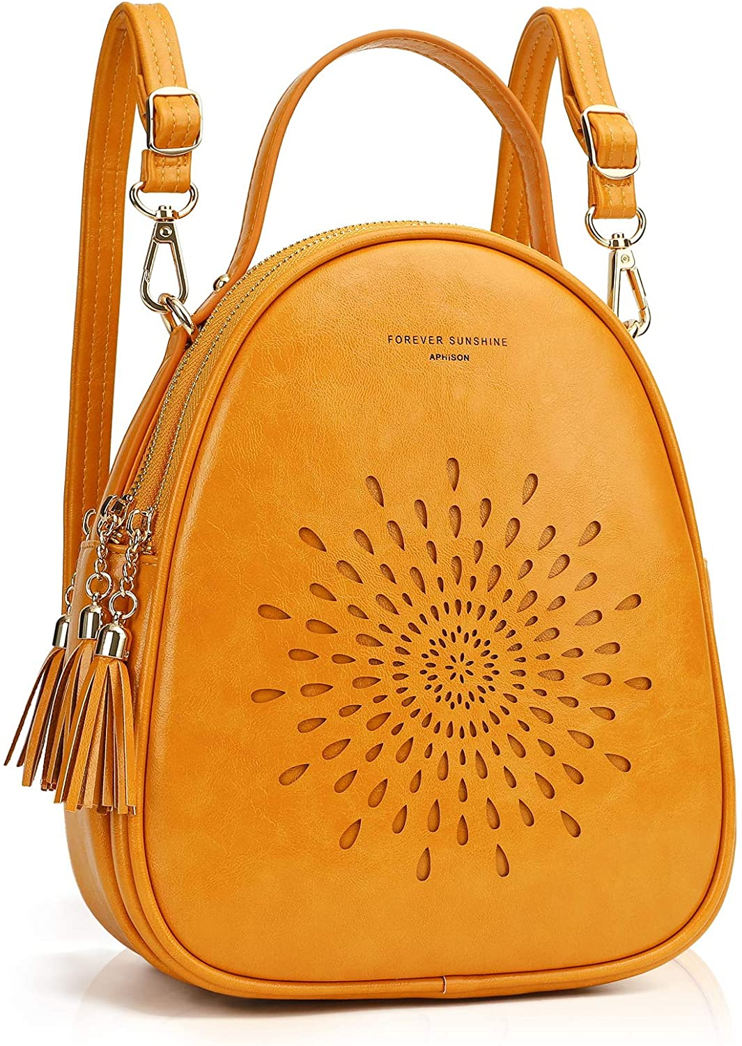 APHISON Fashion Mini Backpack Purse for Women Teen Girls Cute Small Backpacks PU Leather Crossbody Shoulder Bags Handbags Multifunctional and Large-Capacity Daypack Purse 1953-YELLOW