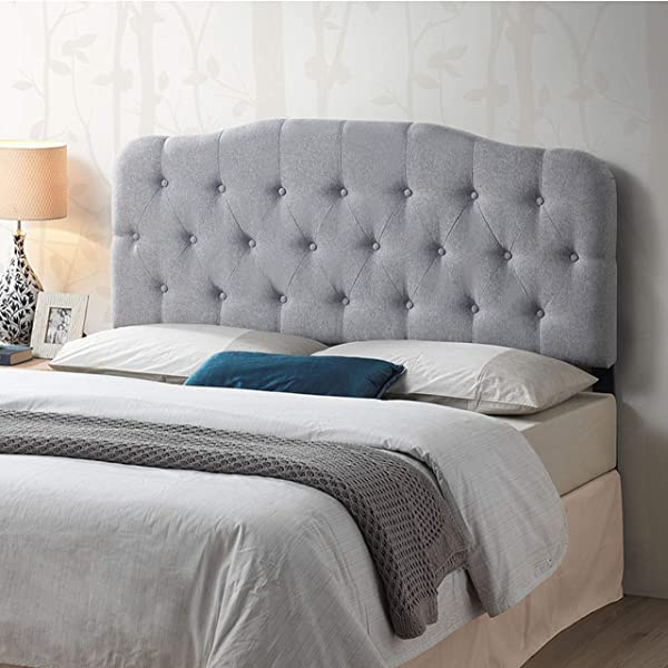 Poly And Bark EM 392 GRY Culberson Tufted Headboard Queen Size Grey