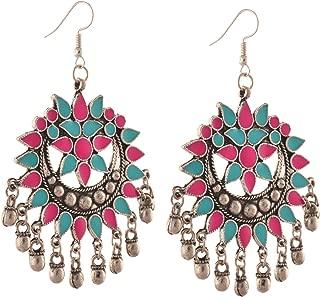 Fashion German Silver Afghani Dangler Hook Chandbali Earrings For Girls and Women