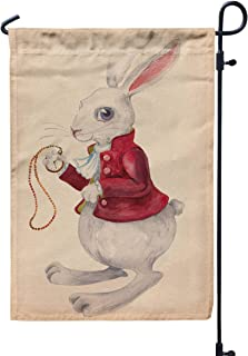 GROOTEY Welcome Outdoor Garden Flag Yard Decorative 12X18 Rabbit from Alice in Wonderland Watercolor Drawing Clock Beautiful Texture Paper Easter Bunny Double Sided Seasonal Garden Flags,Gray Blue