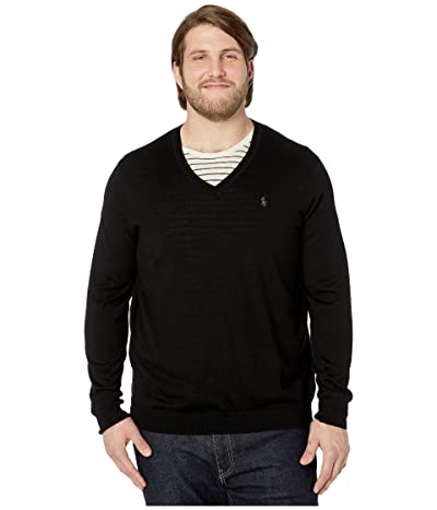 Polo Ralph Lauren Big & Tall Washable Merino Wool V-Neck Sweater (Polo Black) Men