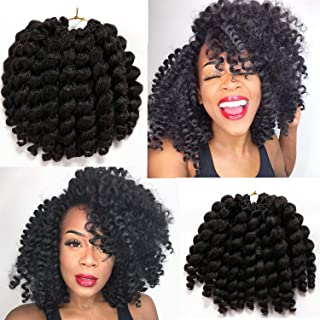 8 Inch 3 Packs Wand Curl Crochet Hair Jamaican Bounce African Collection Havana Mambo Twist Crochet Braids Synthetic Braiding Hair (#1B)