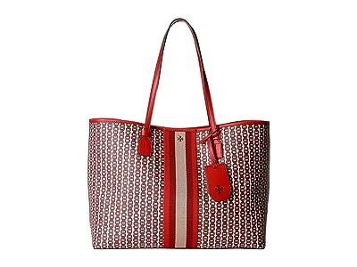 Tory Burch Gemini Link Canvas Tote (Liberty Red) Handbags