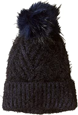 Fuzzy Cable Hat with Pom