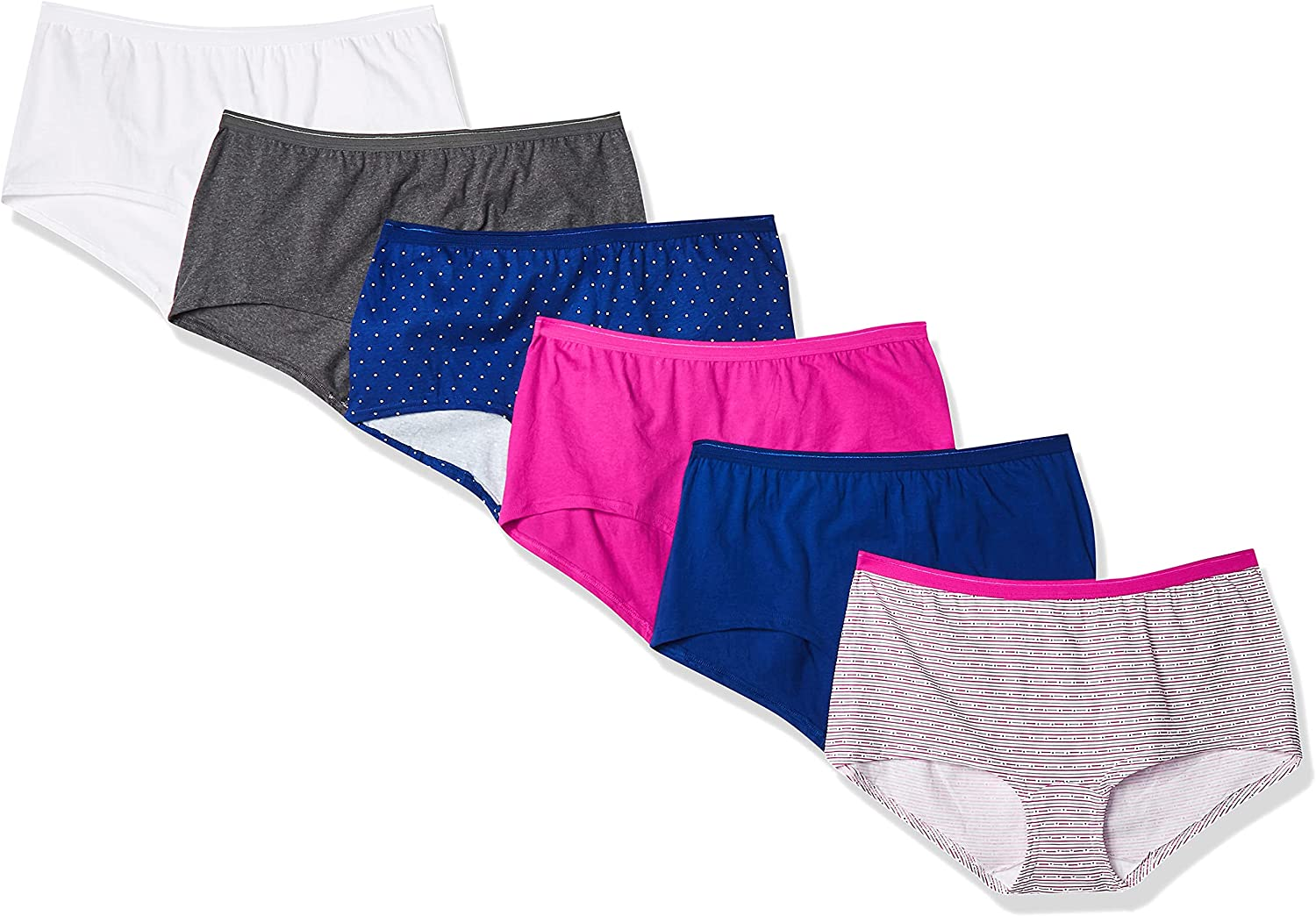 Fruit of the Loom Women's 6 Pack Assorted Cotton Boyshort Panties, Assorted, 8 at  Women's Clothing store