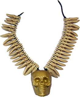 Skull & Teeth Necklace Stone Age Style Cave Man Jewelry 62942