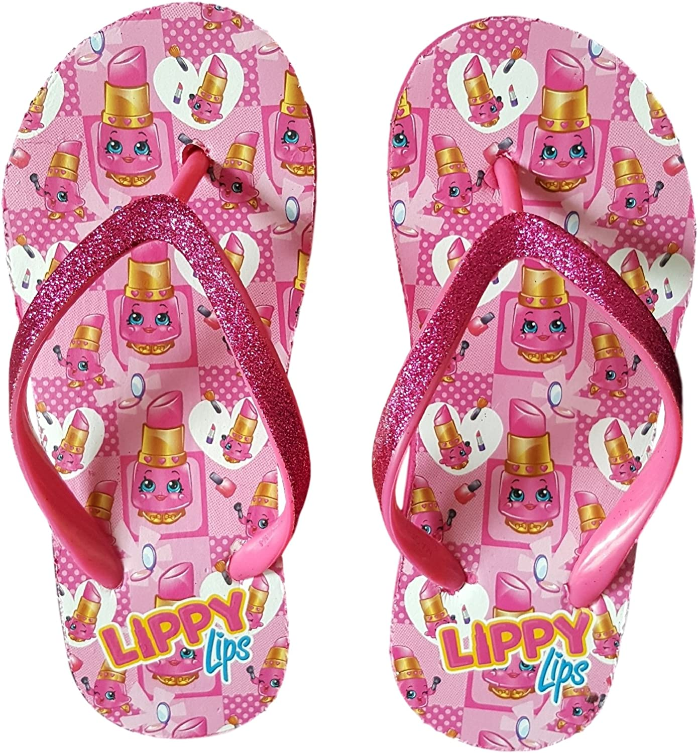 Shopkins Little Girls Wedge Flip Flop Sandals (Small (11 12), Lippy Lips)