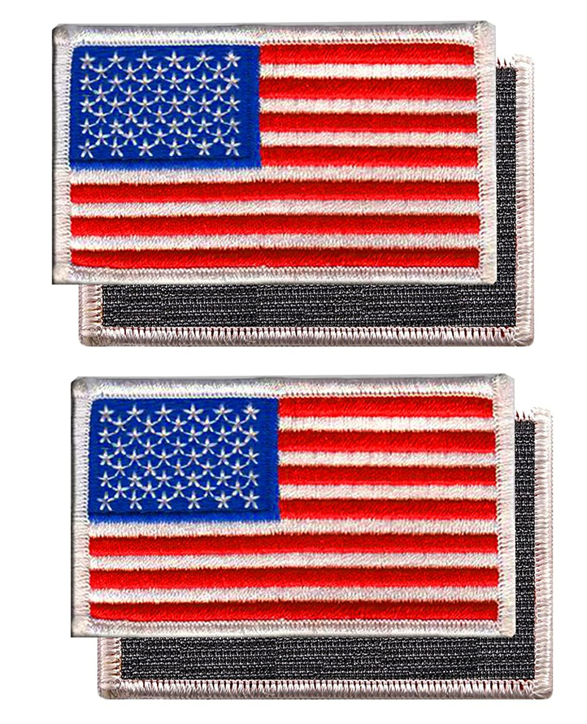 2 PACK - American Flag Embroidered Patch white border USA United States of America w/ Fastener