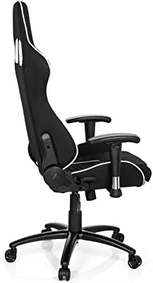 hjh OFFICE 729250 silla gaming LEAGUE PRO I tejido piel sintética negro / blanco silla escritorio