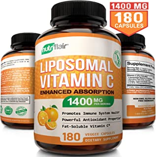 NutriFlair Liposomal Vitamin C 1400mg, 180 Capsules - High Absorption, Fat Soluble VIT C, Antioxidant Supplement, Higher Bioavailability Immune System Support & Collagen Booster, Non-GMO, Vegan Pills