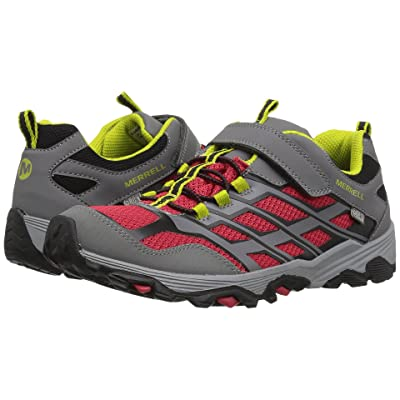 Merrell Kids Moab FST Low Waterproof (Big Kid) (Grey/Red) Girls Shoes