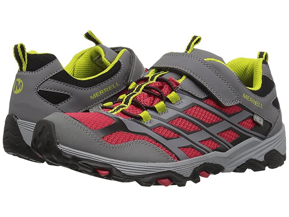 Merrell Kids Moab FST Low A/C Waterproof (Big Kid) (Grey/Red) Boys Shoes
