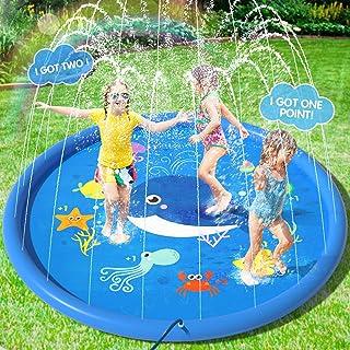 Peradix Waterspel sprinkler pad, zwembad fontein 170Cm splash pad sprinkler pad water play mat voor outdoor zwemmen kinder...