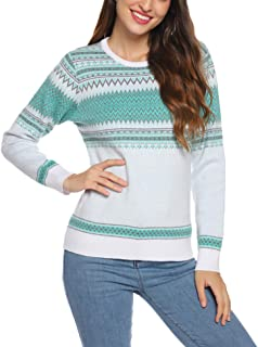 Aibrou Women's Christmas Sweaters Ethnic Retro Geometric Pattern Long Sleeve Knit Pullover